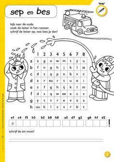 Werkblad veiligheid: geheime code ontcijferen + leren werken met een raster @keireeen Dutch Language, Grade 1, Homeschool, Coding, Teaching, Education, Stage, Kids, Dyslexia