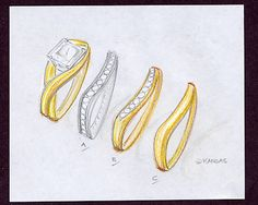 Hand sketched yellow gold custom diamond bridal set, with three beautiful and unique snug-fit shadow diamond wedding band design choices.
