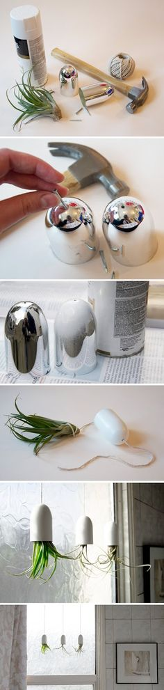 DIY: hanging air-plant container made from shampoo lids, by Ellomennopee on Design Sponge :: nifty craftiness going on here! i loved it!