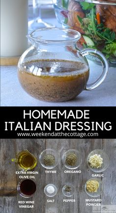 This homemade ITALIAN DRESSING is super easy to prepare, but the flavours are off-the-charts. You can make it a day or two before you intend to use it plus, it stores well if you don't use it all in one go. You don't need any fancy ingredients or tools! Serve on salad, sandwiches or grilled and steamed vegetables.  #healthyrecipe #saladdressing #homemadedressing #italiandressing #italianvinaigrette