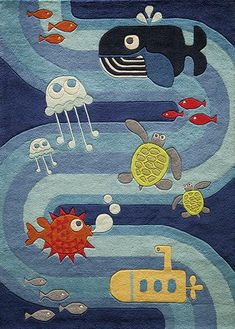 Cute kid's rug with under water theme with jelly fish, whale, fish and more. Momeni Lil Mo Whimsy Blue LMJ21