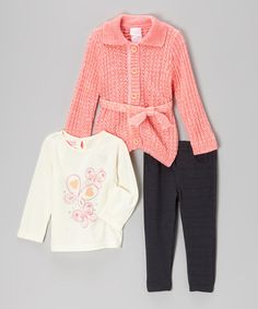 Another great find on #zulily! Pink Butterfly Cardigan Set - Infant by Nannette #zulilyfinds