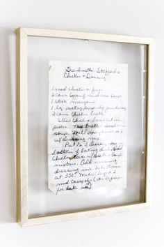How to Preserve and Frame Handwritten Recipes and Letters is part of Home decor - A quick and easy tip for preserving ink on handwritten recipes and letters to frame as sentimental art in your home walldecor handwrittenrecipes Framed Letters, Old Letters, Framed Wall Art, House Letters, Home Decor Kitchen, Diy Home Decor, Kitchen Art, Kitchen Letters, Kitchen Worktop