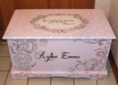 Custom Hope Chest or toy box with a verse of your choice on lid and inside and personalized with name - Toys Painted Toy Chest, Painted Trunk, Hand Painted, Girls Toy Box, Toys For Girls, Dragonfly Painting, Tea Party Table, All Toys, Toy Boxes