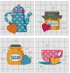 Chá, xícara  açúcar, mel, ponto cruz
