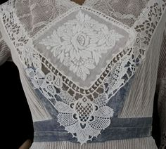 Embroidered lace/tulle tea dress, c.1910