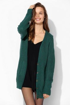 Sparkle & Fade Boyfriend Snap-Front Cardigan - Urban Outfitters