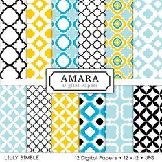Amara Digital Papers Quatrefoil lattice work for photo cards, stationary INSTANT DOWNLOAD. $4.50, via Etsy.