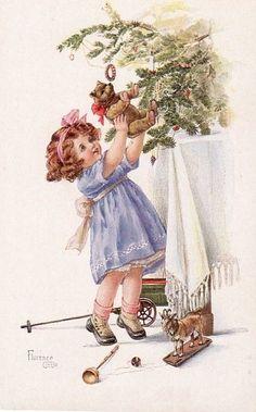 Adorable Vintage Christmas Girl with Teddy Postcard Christmas Card Pictures, Vintage Christmas Images, Old Fashioned Christmas, Christmas Past, Victorian Christmas, Vintage Images, Vintage Greeting Cards, Christmas Greeting Cards, Christmas Greetings