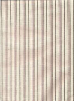 Louisbourg in clover color - pinstripe, stripe, ticking pattern fabric in creamy white and lavender/mauve purple tones for custom tier curtains in kitchen bay window