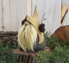 """LORE the Quirky Woodland Gnome 5.5"""" Tall ~ Scandinavian Gnome - Forest Gnome ~ Nordic Gnome ~ Wool Felt Gnome ~ The Gnomes Makers  #3"""