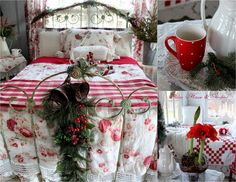 Boathouse decorated for Christmas Aiken House & Gardens: Random Mosaics Bedroom Red, Cozy Bedroom, Dream Bedroom, Bedroom Decor, Red Cottage, Shabby Chic Cottage, Cottage Style, Cozy Christmas, All Things Christmas