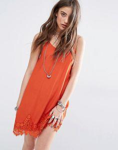 Image 1 ofKiss The Sky Cami Slip Dress With Lace Hem