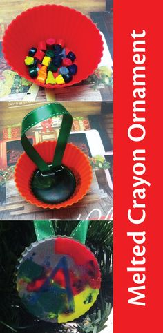 Give a melted crayon ornament as an easy homemade Christmas gift from the kids. | Christmas kids crafts