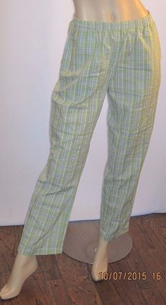 The Tog Shop Petites Size PS Green Striped Cotton Blend Elastic Waist Pants #TheTogShopPetites #CasualPants