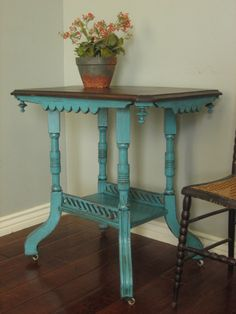 Amazing inspiration for upcycling hall table!  eastlake victorian