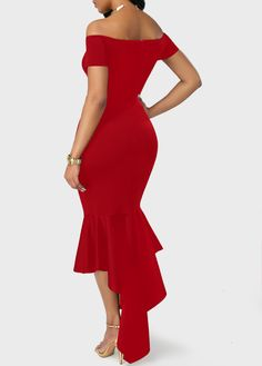 Asymmetric Hem Split Neck Red Bardot Dress on sale only US$31.41 now, buy cheap Asymmetric Hem Split Neck Red Bardot Dress at liligal.com
