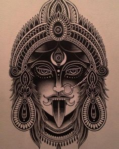 What does kali tattoo mean? We have kali tattoo ideas, designs, symbolism and we explain the meaning behind the tattoo. Kali Tattoo, Demon Tattoo, Hindu Tattoos, God Tattoos, Body Art Tattoos, Sleeve Tattoos, Traditional Ink, Neo Traditional Tattoo, Tatouage Hamsa