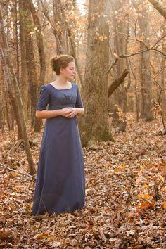 Regency Kleid, Reenactment-Kostüm und Ball Gown Windsor blau, Größe 0 oder 2