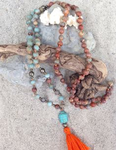 FIX YOU is crafted with African Opal and pyrite accents to cleanse and re-balance the chakras while calming the emotional body. www.FTSoul.etsy.com #malas #malabeads #jewelrywithintention #spiritualjewelry #108malabeadnecklace #highendmalas