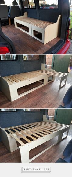 Slide-Out Campervan Bed / Table (VW T5 Forum)... - a grouped images picture - Pin Them All (Summer Camping Hacks)