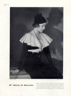 Marcel Rochas (Couture) 1933 Gloria de Beuvoise, Photo Boris Lipnitzki