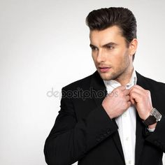 Download - Fashion young businessman in black suit — Stock Image #54824223