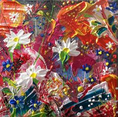 """Buy Gardens """"Flower Bed"""" thick paint abstract, Acrylic painting by Andrew Alan Johnson on Artfinder. Discover thousands of other original paintings, prints, sculptures and photography from independent artists."""