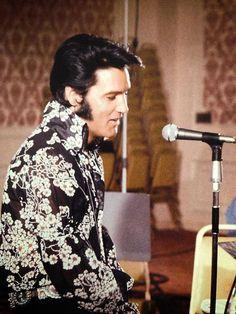Elvis Presley in rehearsals at Graceland, 1970.
