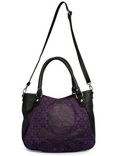 """Sugar Skull"" Tweed Crossbody Bag by Loungefly (Black/Purple) #InkedShop"