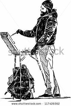 artist in sketching - stock vector