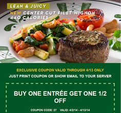 OLIVE GARDEN $$ Reminder: Coupon for Buy One Entree, Get One 1/2 Off – Expires SUNDAY (4/13)!
