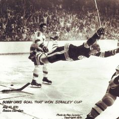 Bobby Orr, defenseman of the Boston Bruins, scores his famous and dramatic goal against the St. Louis Blues in the Stanley Cup finals in the early The Bruins went on the win the cup. Red Wings Hockey, Bobby Orr, Boston Bruins Hockey, Stanley Cup Finals, Boston Sports, St Louis Blues, Sports Photos, Hockey Players, Ice Hockey