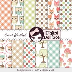 12 background patterns with a woodland forest theme are in this digital pack. Fox, owl, & squirrel paper patterns are just a few!Please note, this is a digital, downloadable product and no physical product is for sale.Are you in need of matching clipart?This set is the perfect companion to my Sweet Woodland Clipart!Quick Specifics:12 digital papers - 12 x 12300dpi files - high resolutionjpg format, 1 zip filesTerms Of Use For Teachers:- You may use my products for personal use, or in clas...