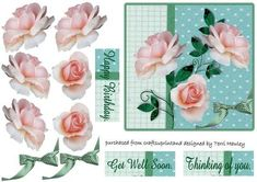 This is a nice way to send someone a get well card.  The card is easy to make and the 3D effect makes it look special.  has 3 labels.  Get Well Soon.  Thinking of You.  Happy Birthday.