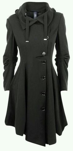 06c46790ccdb3 Womens Hooded Button Closure Asymmetrical Winter Long Trench Jackets Coat  Black S