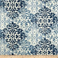 Bryant Solei Slub Pumice from @fabricdotcom Screen printed on slub cotton; this medium/heavyweight fabric is very versatile. This fabric is perfect for window treatments (draperies, valances, curtains, and swags), bed skirts, duvet covers, pillow shams, accent pillows, tote bags, aprons, slipcovers and upholstery. Colors include shades of blue, and cream.
