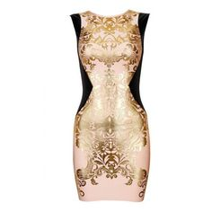 Pink Sleeveless Metallic Yoke Embroidered Bodycon Dress (£45) ❤ liked on Polyvore featuring dresses, shecloth, vestidos, pink day dress, metallic bodycon dress, yoke dress, embroidery dress and beige bodycon dress