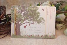 Oak Tree with Lanterns in Spring flowers Wedding Livret Invitation: Get Started Deposit