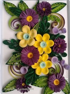 Yellow and purple quilled flowers