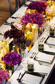 Low centerpieces create a fabulously intimate atmosphere for your wedding. This gallery is filled with gorgeous ways to get inspired by low centerpieces. Modern Wedding Theme, Mod Wedding, Purple Wedding, Wedding Table, Wedding Colors, Wedding Flowers, Wedding Ideas, Trendy Wedding, Wedding Planning