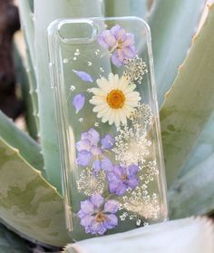 Hand Selected Natural Dried Pressed Flowers Handmade on iPhone 6 Plus Crystal Clear Case: Purple Passion w/ White Daisy Design