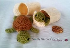 Baby Sea Turtle with Shell CROCHET PATTERN PDF by MostlyStitchin