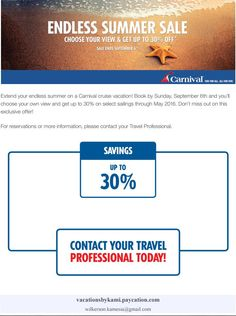 Carnival Cruise Discounts!!!
