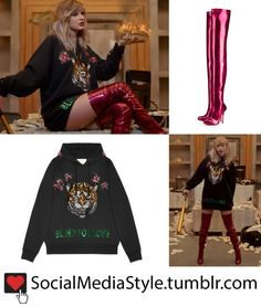 "The ""blind for love"" embroidered tiger hoodie and red over the knee boots that Taylor Swift wore in the ""Look What You Made Me Do"" video Taylor Swift Instagrammed THIS clip from her Look What You Made..."