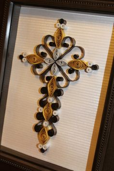 Brown, gold, and cream quilled cross  by Kreations by Kelsee facebook.com/kreationsbykelsee