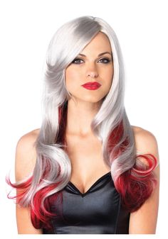 wigs+silver+hair | Red and Gray Two Toned Wig