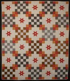 Irish Chain with Stars Quilt:Circa 1910; Pennsylvania
