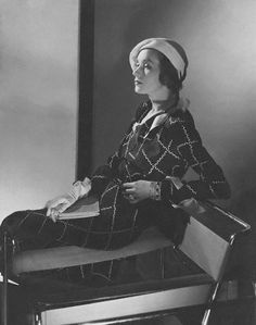 Jean Patou, Mrs. Francis A. Wyman is wearing a white cotton organdy hat and a dark crepe dress with white organdy wavy lines, 1932 #1930sfashion