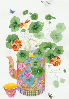 Chinoiserie Nasturtiums (Immigrant) by Gabby MALPAS Botanical Art, Botanical Illustration, Illustration Art, Watercolor And Ink, Watercolor Flowers, Ink Painting, Watercolor Paintings, Watercolours, Korean Painting